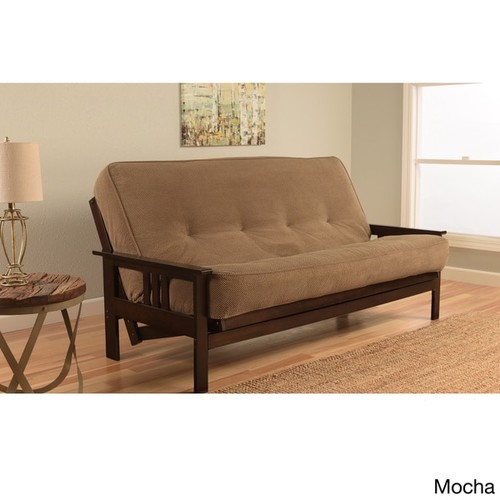 Somette Beli Mont Espresso Hardwood and Polyester Futon Set with Marmont Mattress