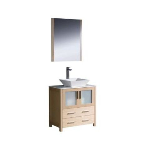 Fresca Torino 30 in. Vanity in Light Oak with Glass Stone Vanity Top in White with White Basin and Mirror