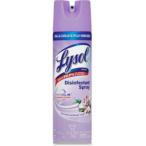 Lysol Breeze Disinfectant Spray - Aerosol - 0.15 gal (19 fl oz) - Early Morning Breeze Scent - 12 / Carton - Clear