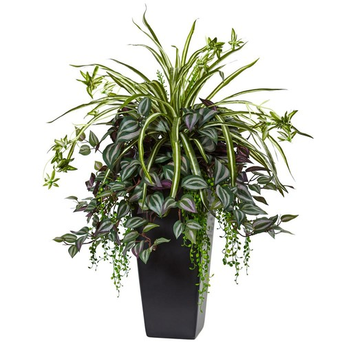 Nearly Natural Indoor Wandering Jew and Spider Plant in Black Planter