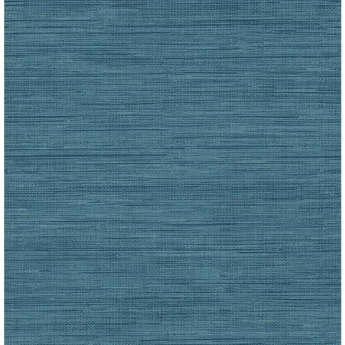 Brewster 8 in. x 10 in. Sea Grass Blue Faux Grasscloth Wallpaper Sample