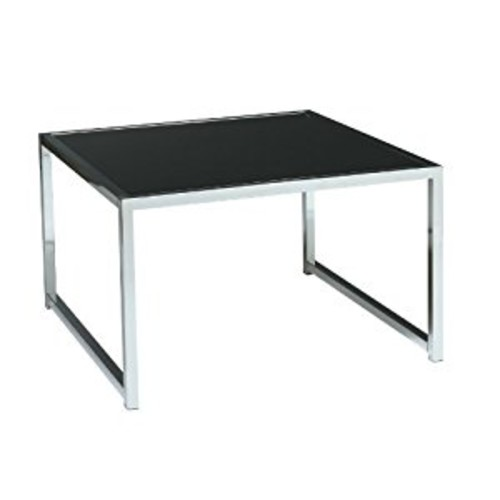 AVE SIX Yield Modern Accent Table with Chromed Steel Base, Black Glass Top [Accent Table]