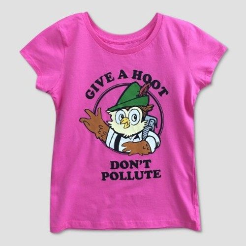 Girls' Woodsy Owl 'Give A Hoot' Graphic Short Sleeve T-Shirt - Pink