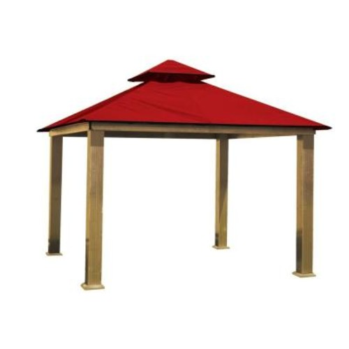 12 ft. x 12 ft. ACACIA Aluminum Gazebo with Red Canopy