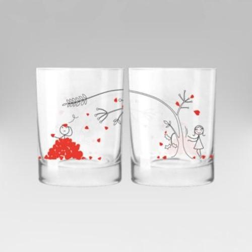 BoldLoft Love You Madly Couple 12 oz. Drinking Glass (Set of 2)