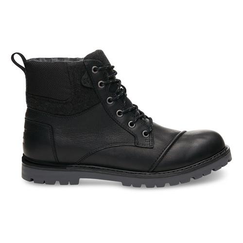 Waterproof Black Leather Herringbone Men's Ashland Boots