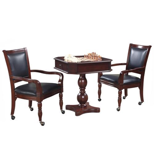 Hathaway Fortress Chess, Checkers u0026 Backgammon Pedestal Game Table u0026 Chairs Set in Mahogany Finish