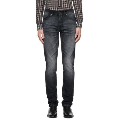 SAINT LAURENT Black 'Université' Low-Waisted Skinny Jeans