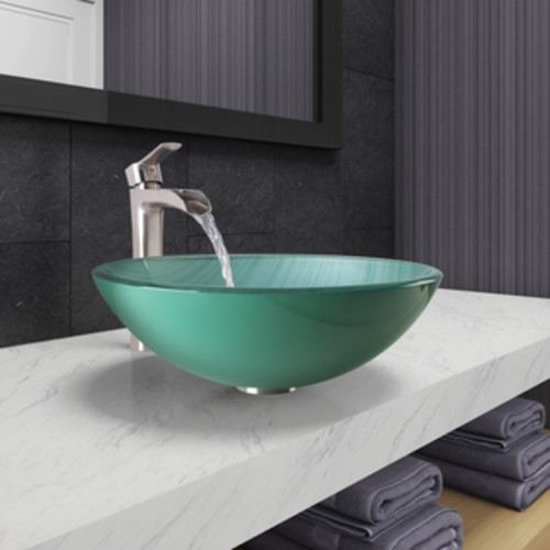VIGO Icicles Glass Vessel Bathroom Sink and Niko Faucet Set in Brushed Nickel Finish