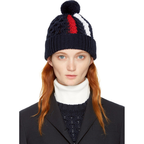 THOM BROWNE Navy Aran Cable Knit Stripe Pom Pom Beanie