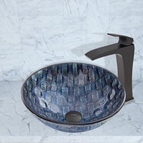 Vigo Rio Glass Circular Vessel Bathroom Sink