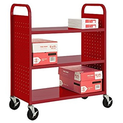 Sandusky Lee SF336-09 3 Flat Shelf Book Truck, 19