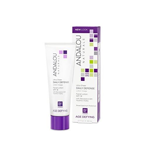 Andalou Naturals Ultra Sheer Daily Defense Facial Lotion, SPF 18, 2.7 oz, with Resveratrol CoQ10 and Antioxidants, Lightweight, Hydrating Facial Moisturizer [Ultra Sheer Daily Defense]