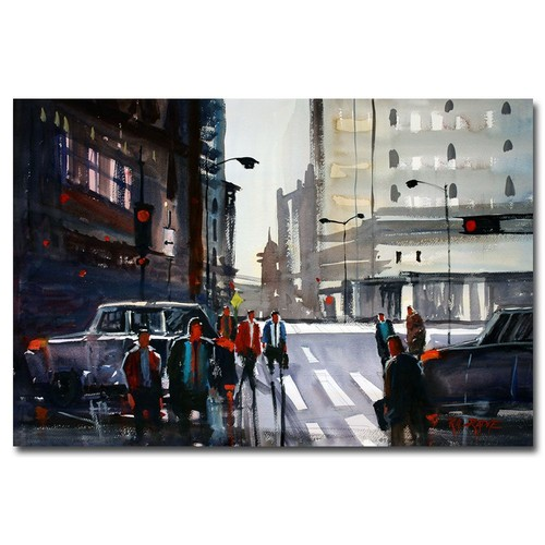 Trademark Global Ryan Radke 'Busy City - Chicago' Canvas Art [Overall Dimensions : 16x24]