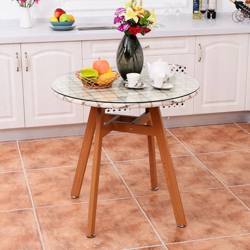 Costway Round Dining Table Steel Frame Tempered Glass Top Home Decor Kitchen Furniture