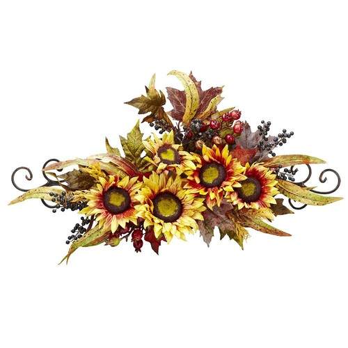 Nearly Natural 12 in. H Yellow Sunflower Swag with Metal Frame