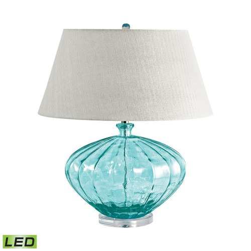 Titan Lighting 25 in. Blue Recycled Fluted Glass Urn LED Table Lamp