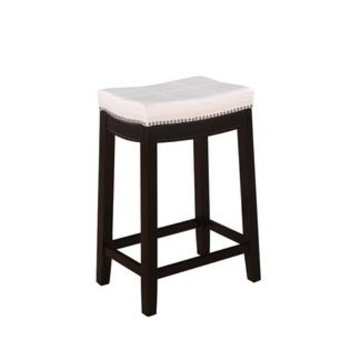 Linon Home Decor 55815WHTPU-01-KD-U Claridge Patches White Counter Stool