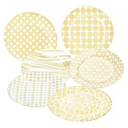 Certified International Elegance Gold Plated Ceramic Assorted 8'' Barrel Dessert Plates - Set of 6