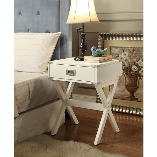 Acme Furniture Babs White Storage End Table