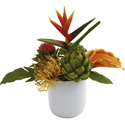 Nearly Natural Nearly Natural Tropical Floral Arrangement with White Glass Vase