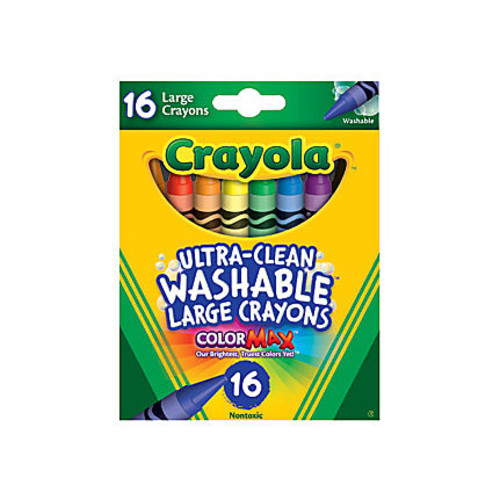 Crayola Washable Crayons, Assorted Colors, Pack Of 16