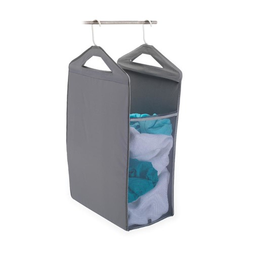 HOMZ Hanging Closet Hamper in Gray
