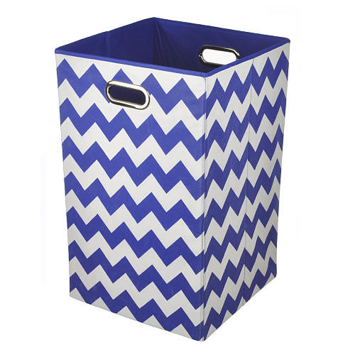Modern Littles Chevron Folding Laundry Basket - Bold Blue
