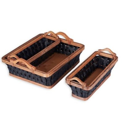 Household Essentials 3-Piece Paper Rope Wicker Basket Tray Set in Dark Brown