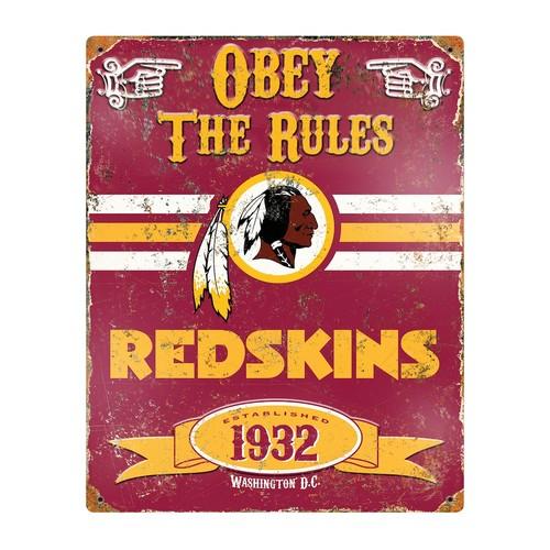 Party Animal Washington Redskins Embossed Metal Sign