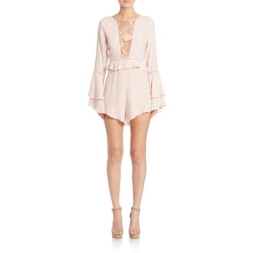 FOR LOVE & LEMONS Emelia Long Sleeve Ruffled Romper