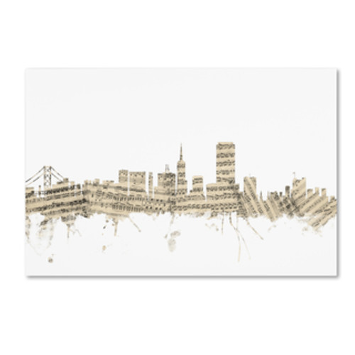 Marlene Watson 'San Francisco California Skyline' Canvas Wall Art [option : 12x19 Wrapped Canvas Art]
