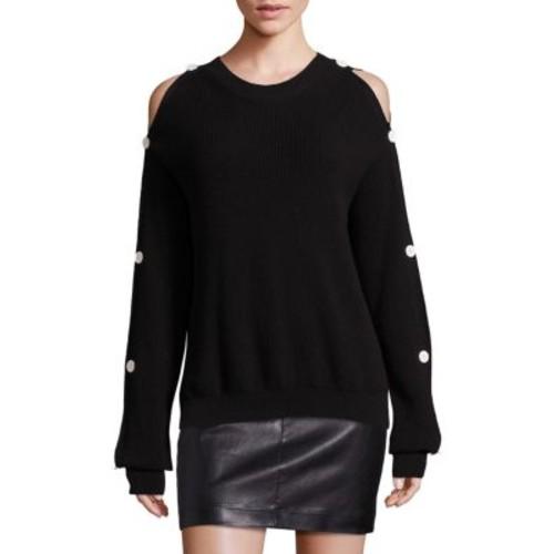 HELMUT LANG Cold Shoulder Cotton Cashmere Blend Ribbed Sweater