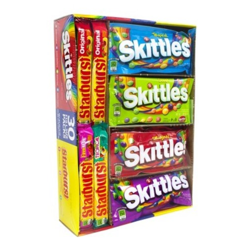 Skittles and Starburst Assorted Flavors Candy Variety Pack 30 ct