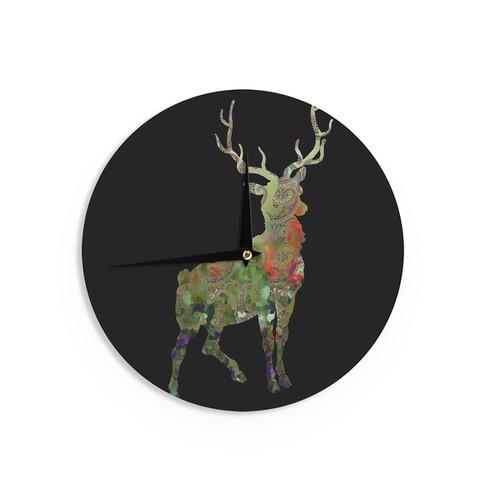 KESS InHouse Suzanne Carter 'Paisley Deer' Black Abstract Wall Clock