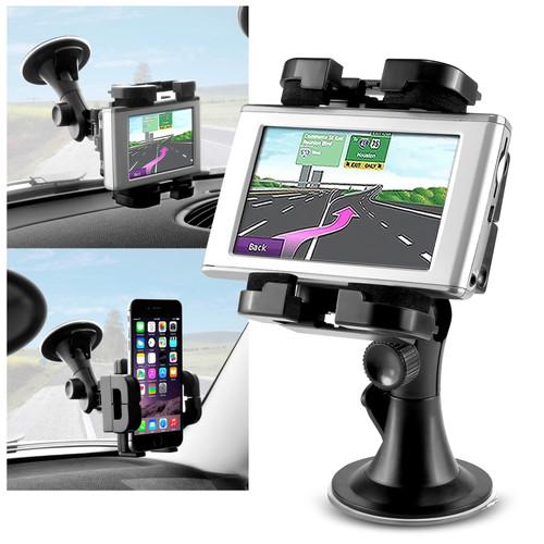 Insten 377981 Universal Car GPS Phone Windshield Holder Mount for iPhone 6/6S/6 Plus/6S Plus/Samsung Galaxy S7/ S7 Edge & More Phones, Black