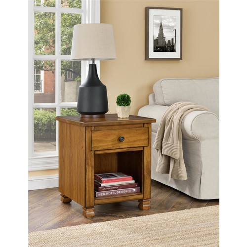 Ameriwood Home San Antonio Wood Veneer End Table - Tuscany Oak