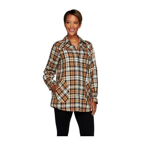 Joan Rivers Plaid Boyfriend Shirt w/ Long Sleeves