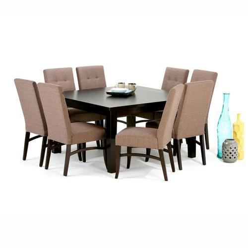 Simpli Home Ezra 9-Piece Fawn Brown Dining Set