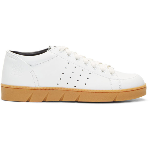 White Leather Low-Top Sneakers