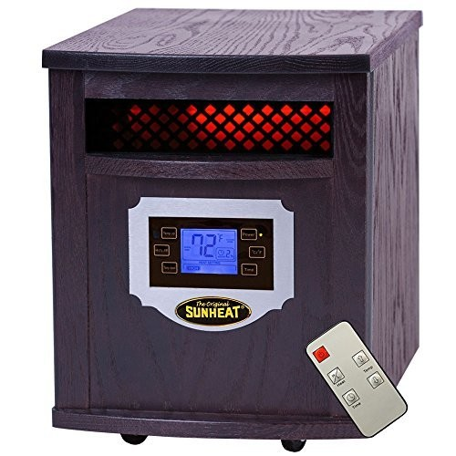 SUNHEAT International SH-1500LCD Electric Portable Infrared Heater with Remote Control and LCD Display, 1500-watt, Black Cherry