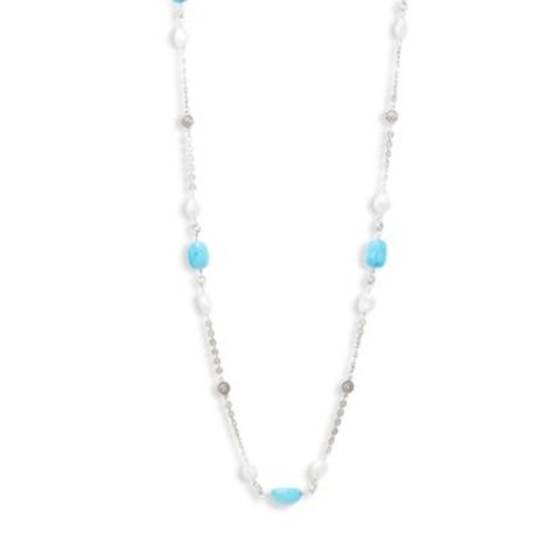 Stephen Dweck - 10MM White Baroque Pearl, Magnesite and Sterling Silver Single Strand Necklace