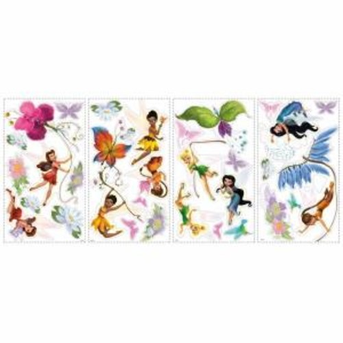 RoomMates 5 in. x 11.5 in. Disney Fairies 30-Piece Peel and Stick Wall Decals