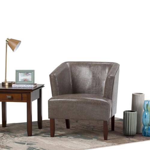 Simpli Home Longford Elephant Grey Bonded Leather Arm Chair