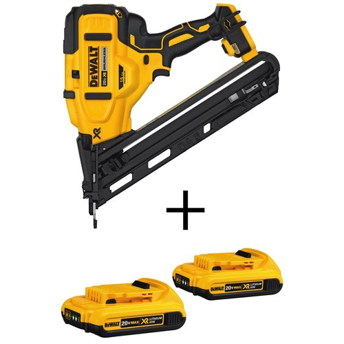 DEWALT 20-Volt MAX XR Lithium-Ion Cordless 15-GaugeAngled Finish Nailer(Tool-Only) with Bonus Battery Pack 2.0Ah (2-Pack)