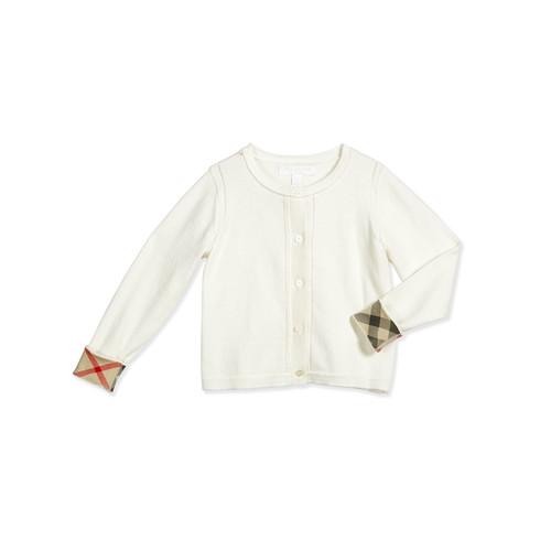 BURBERRY Rheta Cotton Button-Front Cardigan, White, Size 4-14