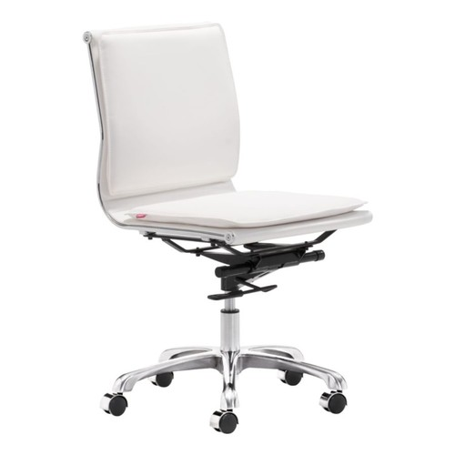 Zuo Lider Plus Armless Low-Back Office Chair, White/Chrome