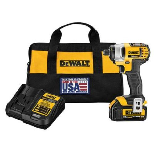 DEWALT 20-Volt MAX Lithium-Ion Cordless Impact Driver with Battery 3Ah, Charger and Contractor Bag