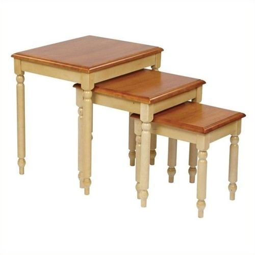 OSP Design 3-Piece Nesting Tables, Country Cottage Buttermilk and Cherry Finish