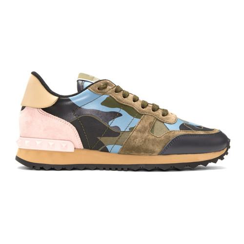 VALENTINO Green & Blue  Garavani Camo Rockrunner Sneakers